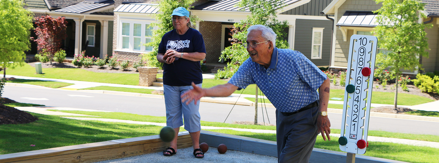 Residents playing bocce at Sterling Estates West Cobb in Marietta GA